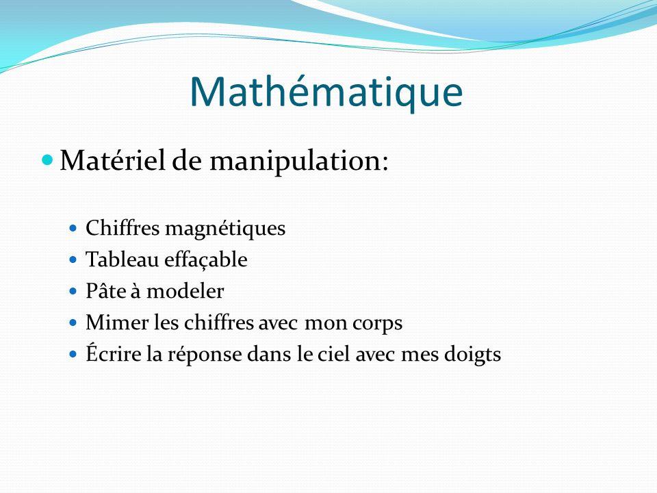 Mathématique Matériel de manipulation: Chiffres magnétiques Tableau effaçable Pâte à modeler Mimer les chiffres avec mon corps Écrire la réponse dans
