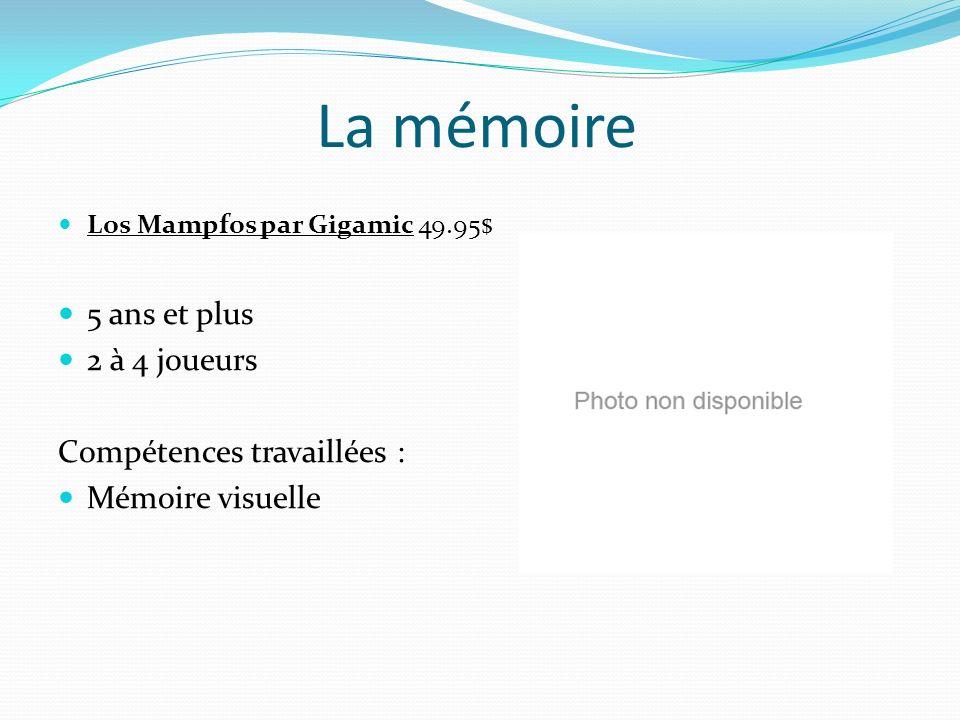 La mémoire Los Mampfos par Gigamic 49.95$ 5 ans et plus 2 à 4 joueurs Compétences travaillées : Mémoire visuelle