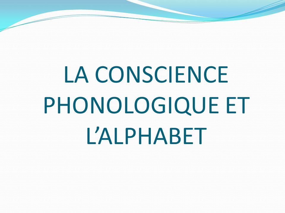 LA CONSCIENCE PHONOLOGIQUE ET LALPHABET