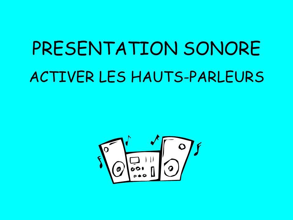 PRESENTATION SONORE ACTIVER LES HAUTS-PARLEURS