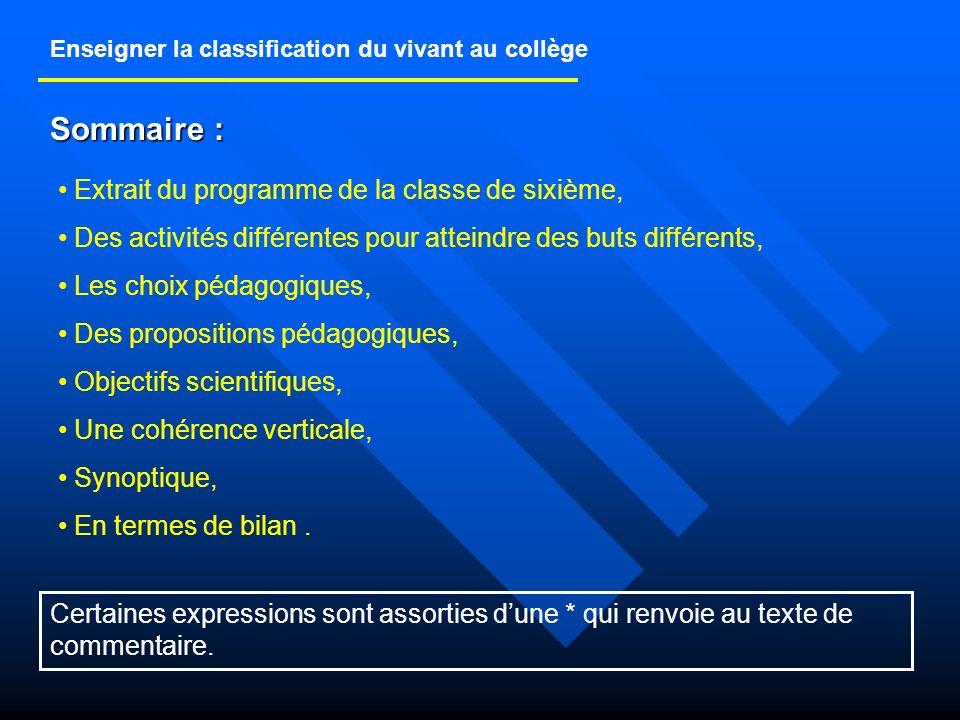 Enseigner la classification du vivant au collège Extrait du programme de la classe de sixième Notions.