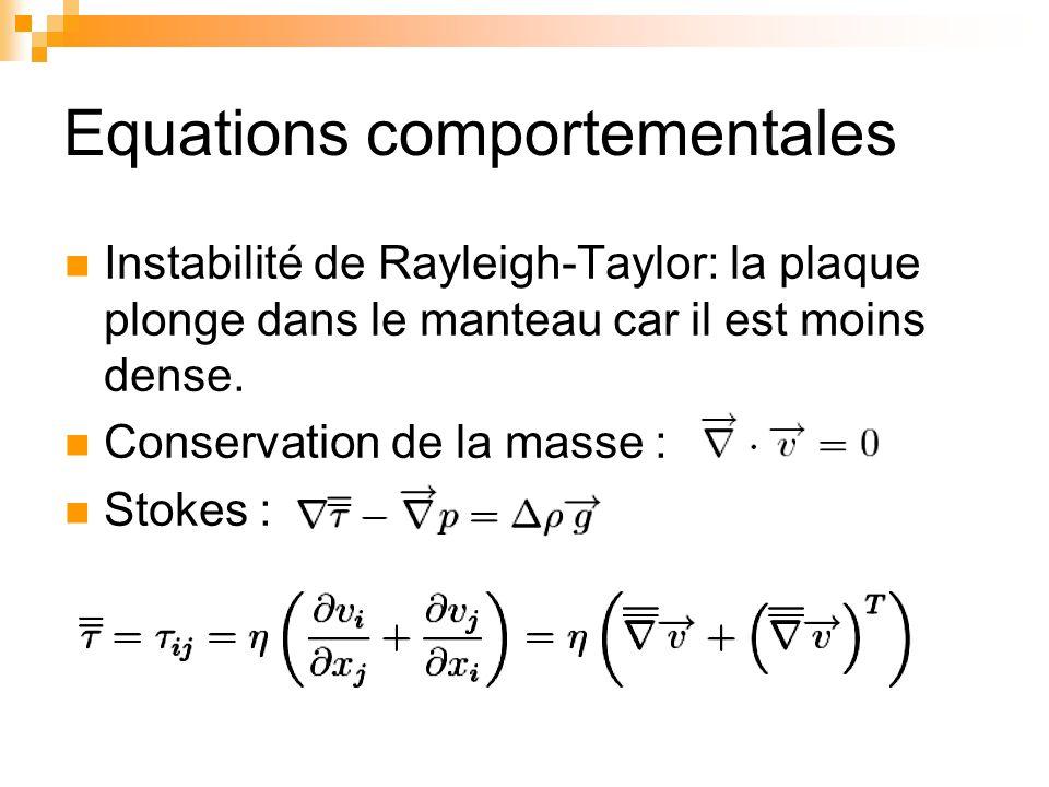 Equations comportementales Instabilité de Rayleigh-Taylor: la plaque plonge dans le manteau car il est moins dense. Conservation de la masse : Stokes