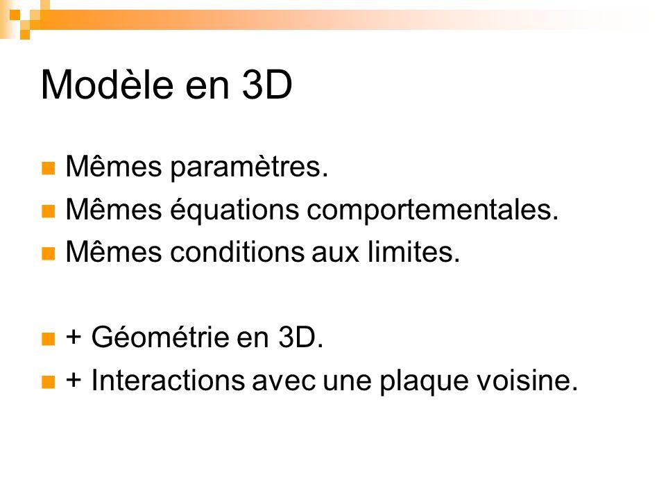 Modèle en 3D Mêmes paramètres. Mêmes équations comportementales. Mêmes conditions aux limites. + Géométrie en 3D. + Interactions avec une plaque voisi
