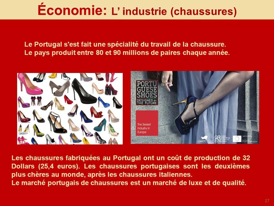 27 Économie: L industrie (chaussures) Le Portugal s'est fait une spécialité du travail de la chaussure. Le pays produit entre 80 et 90 millions de pai