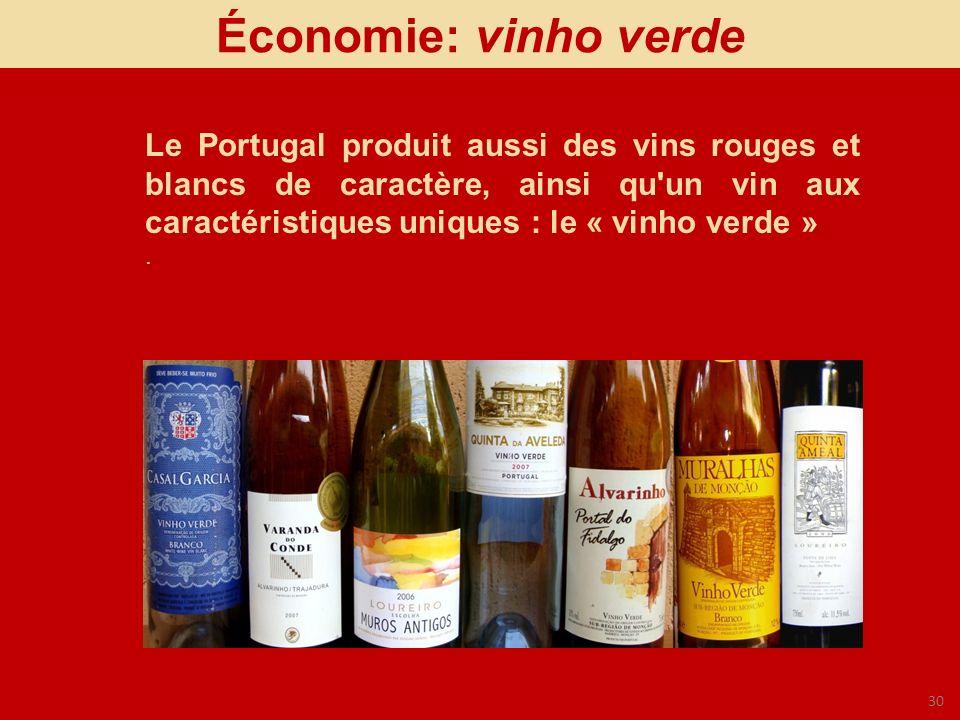 30 Économie: vinho verde Le Portugal produit aussi des vins rouges et blancs de caractère, ainsi qu'un vin aux caractéristiques uniques : le « vinho v