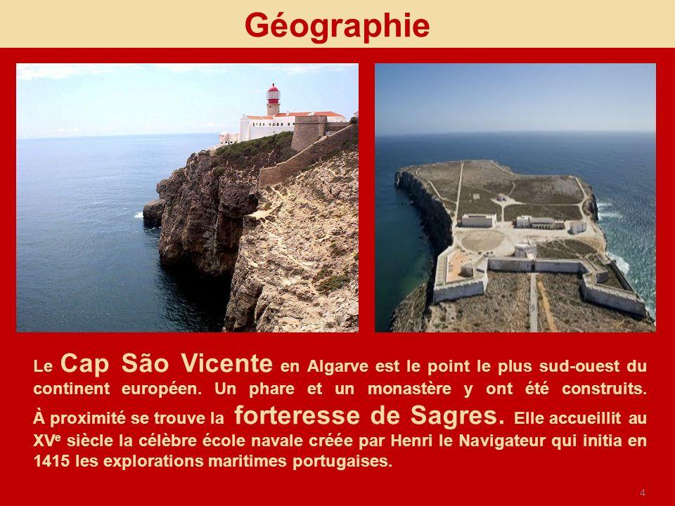 4 Géographie Le Cap São Vicente en Algarve est le point le plus sud-ouest du continent européen. Un phare et un monastère y ont été construits. À prox