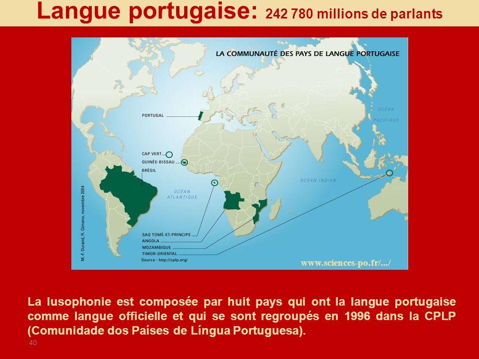 40 www.sciences-po.fr/.../ Langue portugaise: 242 780 millions de parlants La lusophonie est composée par huit pays qui ont la langue portugaise comme