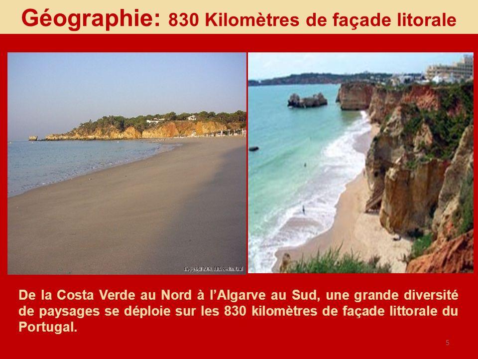 5 De la Costa Verde au Nord à lAlgarve au Sud, une grande diversité de paysages se déploie sur les 830 kilomètres de façade littorale du Portugal. Géo