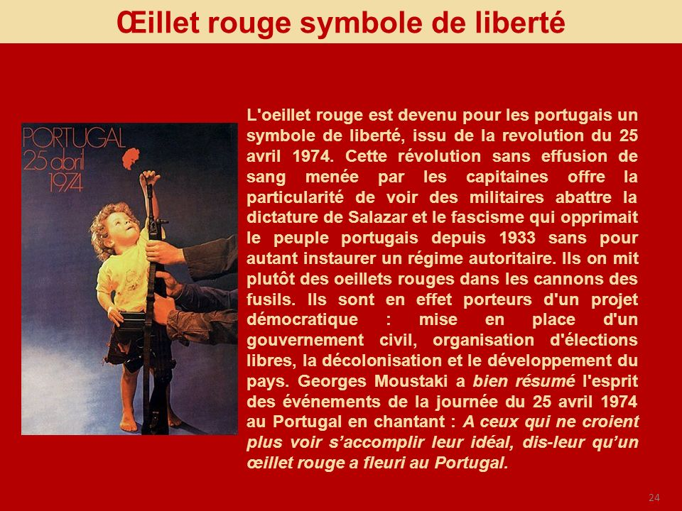 24 Œillet rouge symbole de liberté L'oeillet rouge est devenu pour les portugais un symbole de liberté, issu de la revolution du 25 avril 1974. Cette