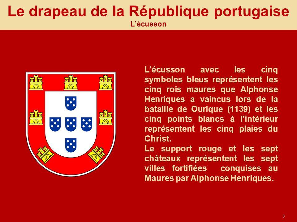 3 Le drapeau de la République portugaise Lécusson Lécusson avec les cinq symboles bleus représentent les cinq rois maures que Alphonse Henriques a vai