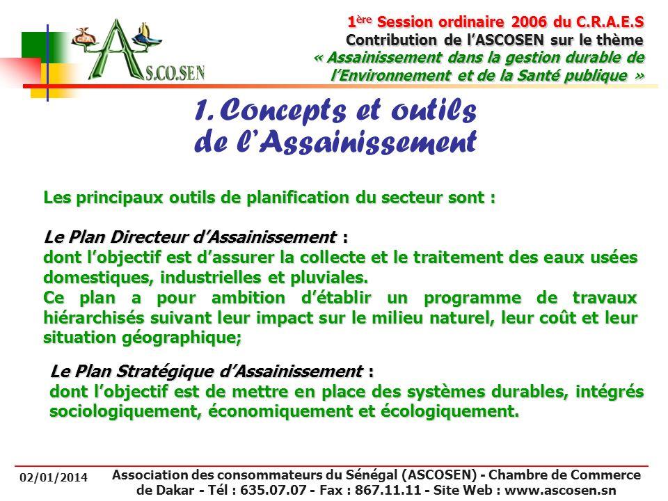 1 ère Session ordinaire 2006 du C.R.A.E.S Contribution de lASCOSEN sur le thème « Assainissement dans la gestion durable de lEnvironnement et de la Sa
