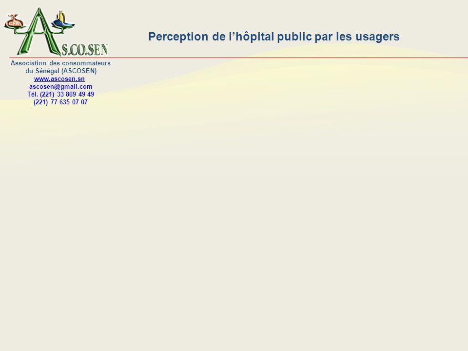 Perception de lhôpital public par les usagers Association des consommateurs du Sénégal (ASCOSEN) www.ascosen.sn ascosen@gmail.com Tél.