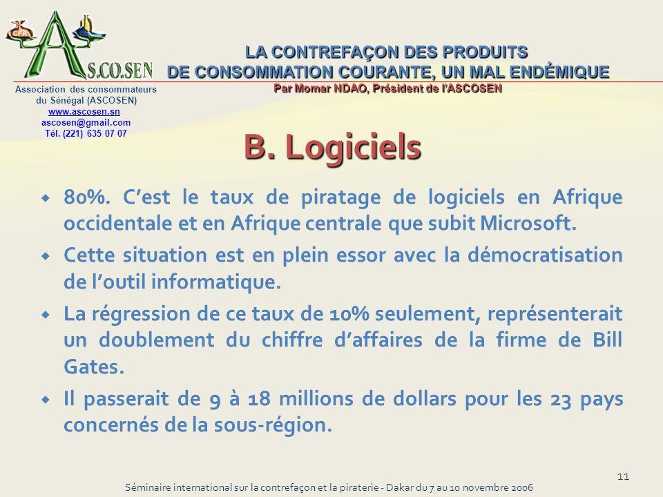 LA CONTREFAÇON DES PRODUITS DE CONSOMMATION COURANTE, UN MAL ENDÉMIQUE Par Momar NDAO, Président de lASCOSEN Association des consommateurs du Sénégal