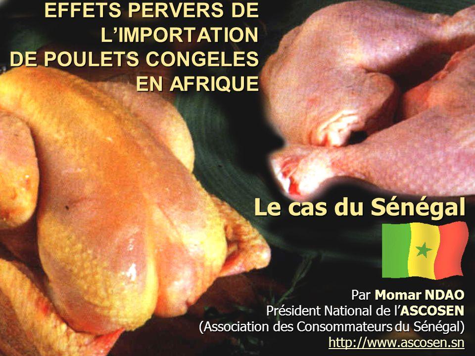 Effets pervers de lImportation des poulets congelés en Afrique : Le cas du Sénégal Par Momar NDAO, Président National de lASCOSEN (Association des consommateurs du Sénégal) 02/01/2014Séminaire international d échange et de réflexion sur les effets pervers de l importation massive de poulets congelés en Afrique 12 V.