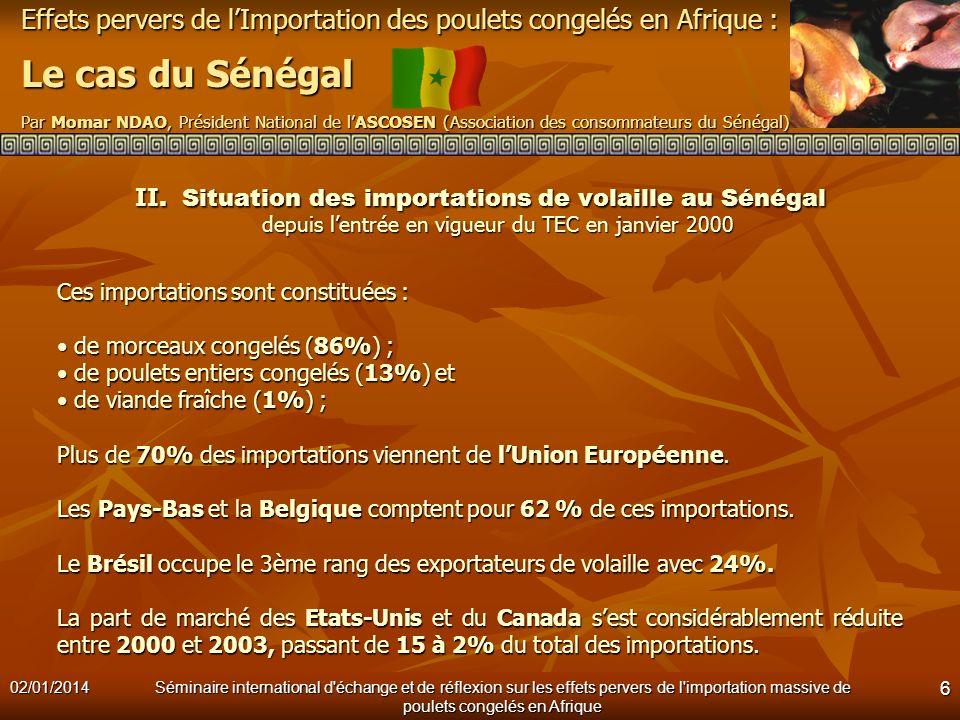 Effets pervers de lImportation des poulets congelés en Afrique : Le cas du Sénégal Par Momar NDAO, Président National de lASCOSEN (Association des con