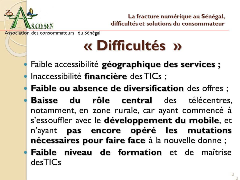 12 « Difficultés » géographique des services ; Faible accessibilité géographique des services ; financière Inaccessibilité financière des TICs ; Faibl