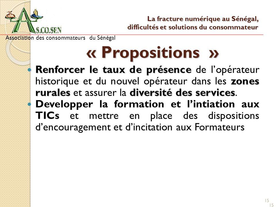 15 « Propositions » Renforcer le taux de présence zones ruralesdiversité des services Renforcer le taux de présence de lopérateur historique et du nou