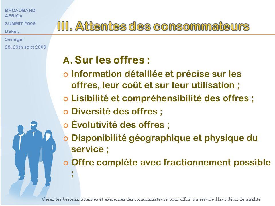 A. Sur les offres : Information détaillée et précise sur les offres, leur coût et sur leur utilisation ; Lisibilité et compréhensibilité des offres ;
