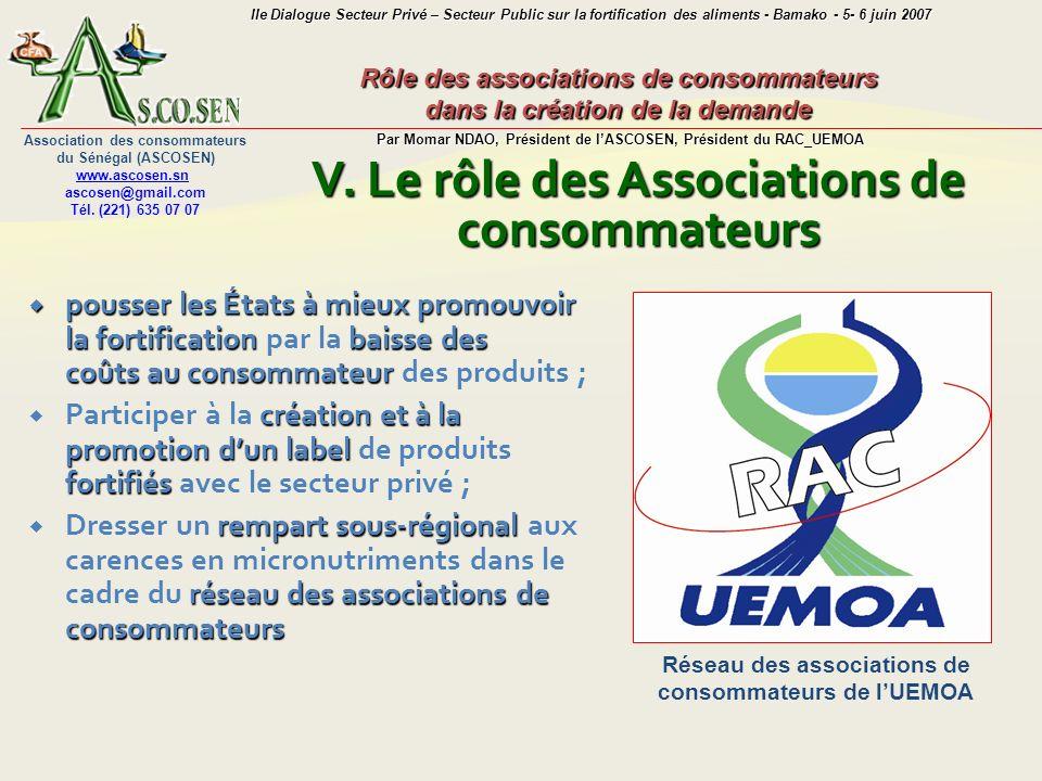 Rôle des associations de consommateurs dans la création de la demande Par Momar NDAO, Président de lASCOSEN, Président du RAC_UEMOA Association des co