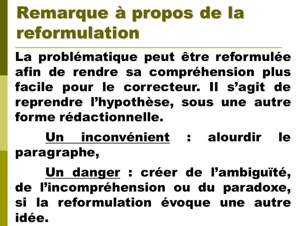 Remarque à propos de la reformulation La problématique peut être reformulée afin de rendre sa compréhension plus facile pour le correcteur. Il sagit d