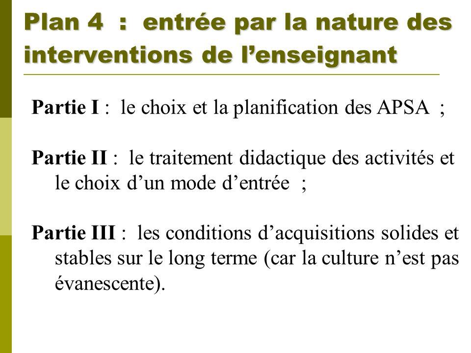 Plan 4 : entrée par la nature des interventions de lenseignant Partie I : le choix et la planification des APSA ; Partie II : le traitement didactique
