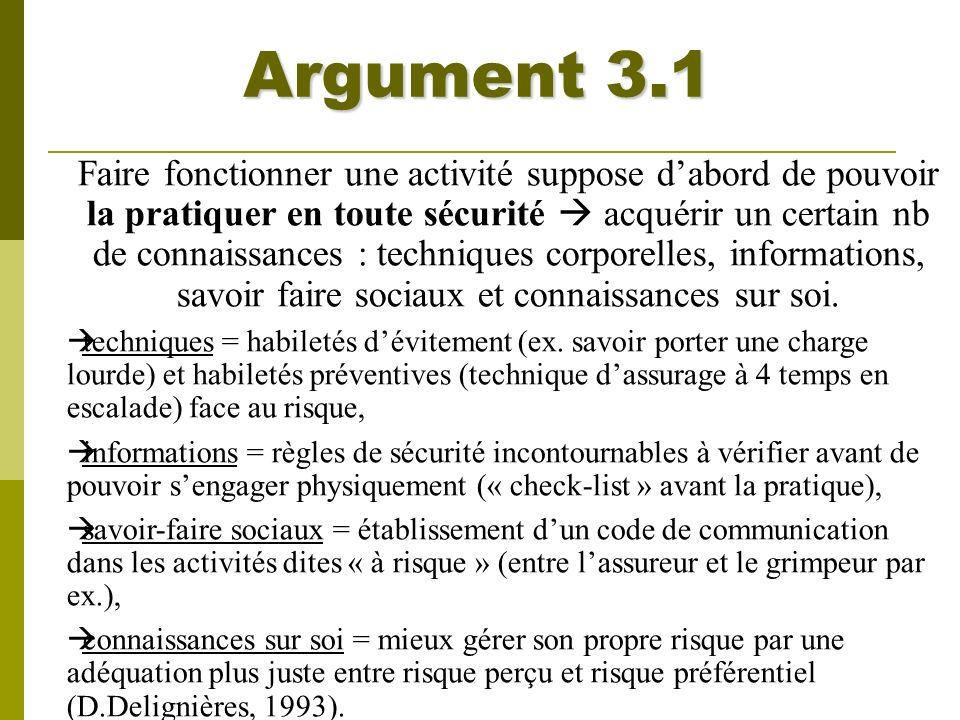 Argument 3.1 Faire fonctionner une activité suppose dabord de pouvoir la pratiquer en toute sécurité acquérir un certain nb de connaissances : techniq