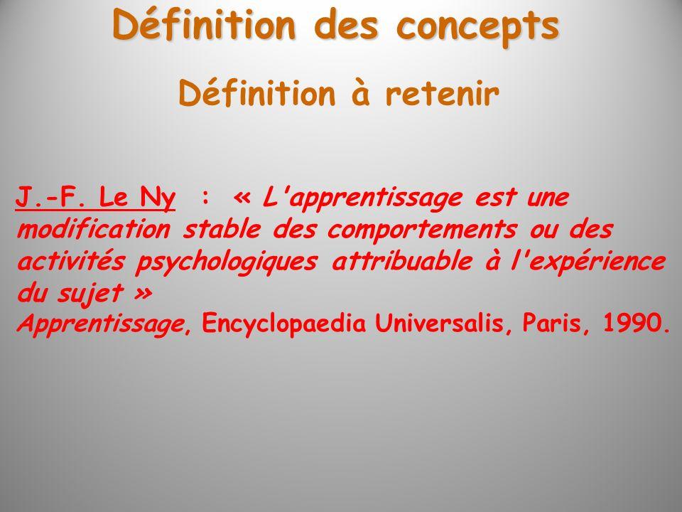 Définition des concepts Définition à retenir J.-F. Le Ny : « L'apprentissage est une modification stable des comportements ou des activités psychologi