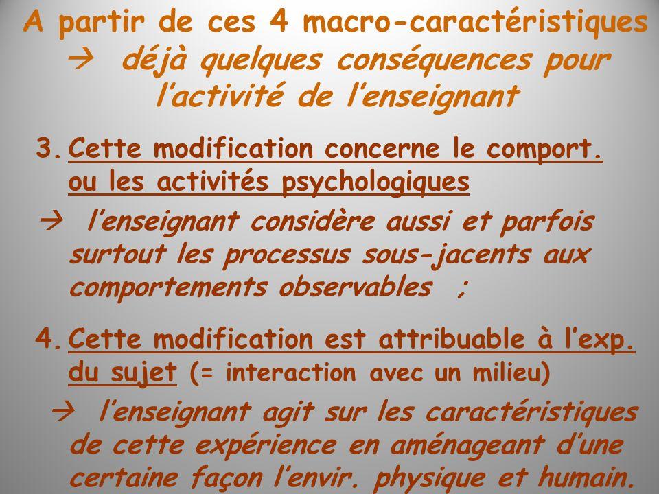 3.Cette modification concerne le comport. ou les activités psychologiques lenseignant considère aussi et parfois surtout les processus sous-jacents au