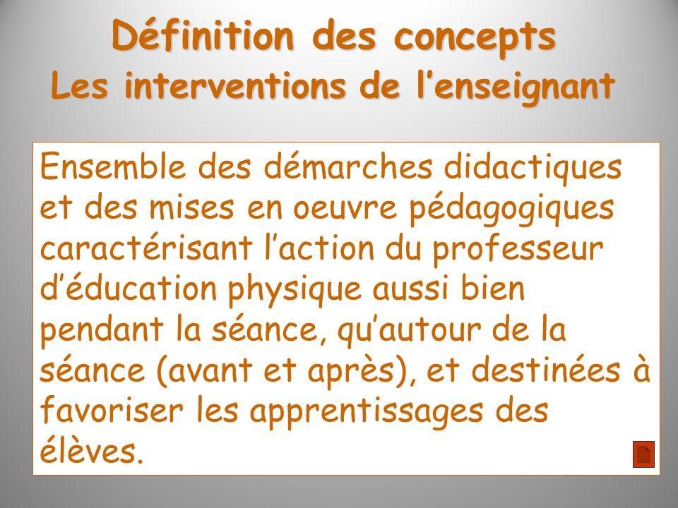 Les interventions de lenseignant Ensemble des démarches didactiques et des mises en oeuvre pédagogiques caractérisant laction du professeur déducation