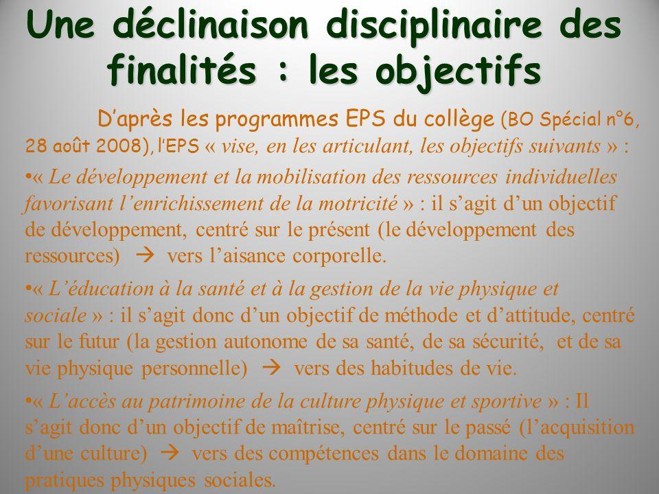 Daprès les programmes EPS du collège (BO Spécial n°6, 28 août 2008), lEPS « vise, en les articulant, les objectifs suivants » : « Le développement et