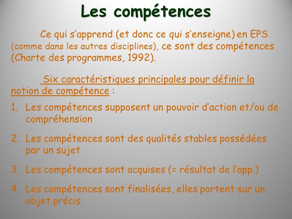 Ce qui sapprend (et donc ce qui senseigne) en EPS (comme dans les autres disciplines), ce sont des compétences (Charte des programmes, 1992). Six cara