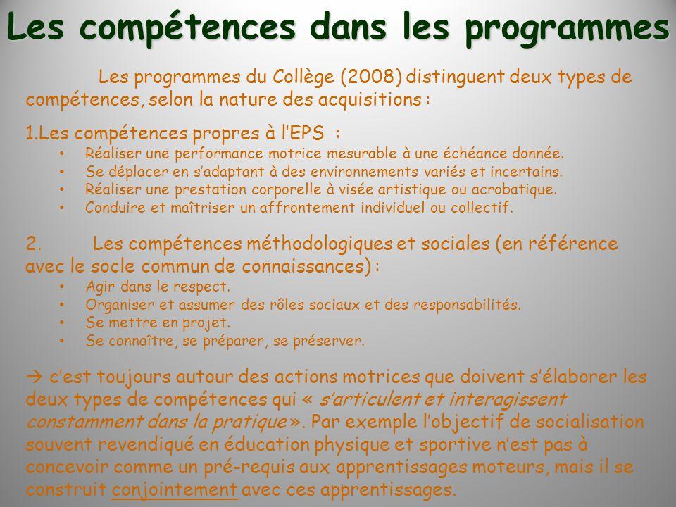Les programmes du Collège (2008) distinguent deux types de compétences, selon la nature des acquisitions : 1.Les compétences propres à lEPS : Réaliser