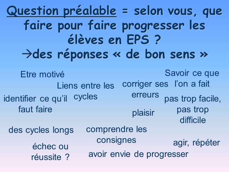 Question préalable = selon vous, que faire pour faire progresser les élèves en EPS ? des réponses « de bon sens » des réponses « de bon sens » des cyc