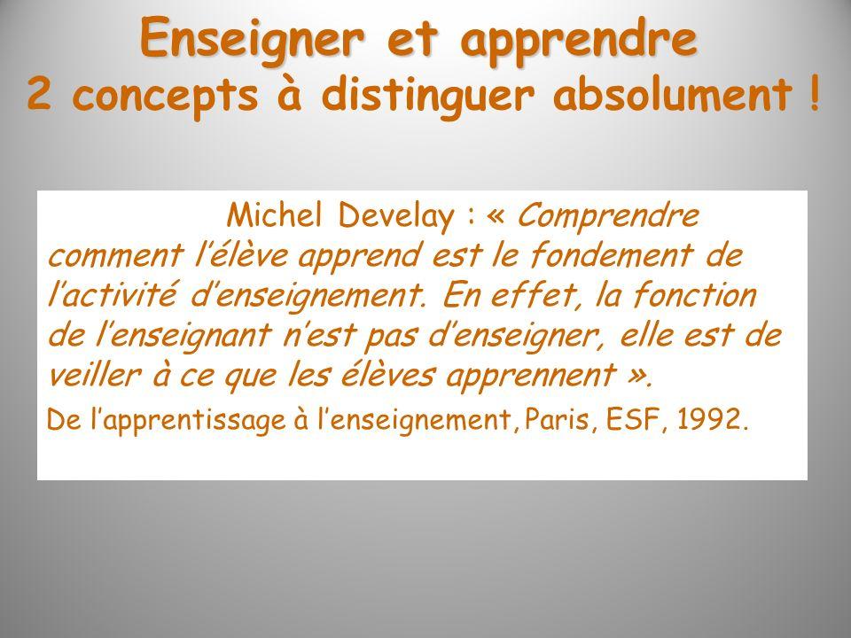 Enseigner et apprendre Michel Develay : « Comprendre comment lélève apprend est le fondement de lactivité denseignement. En effet, la fonction de lens