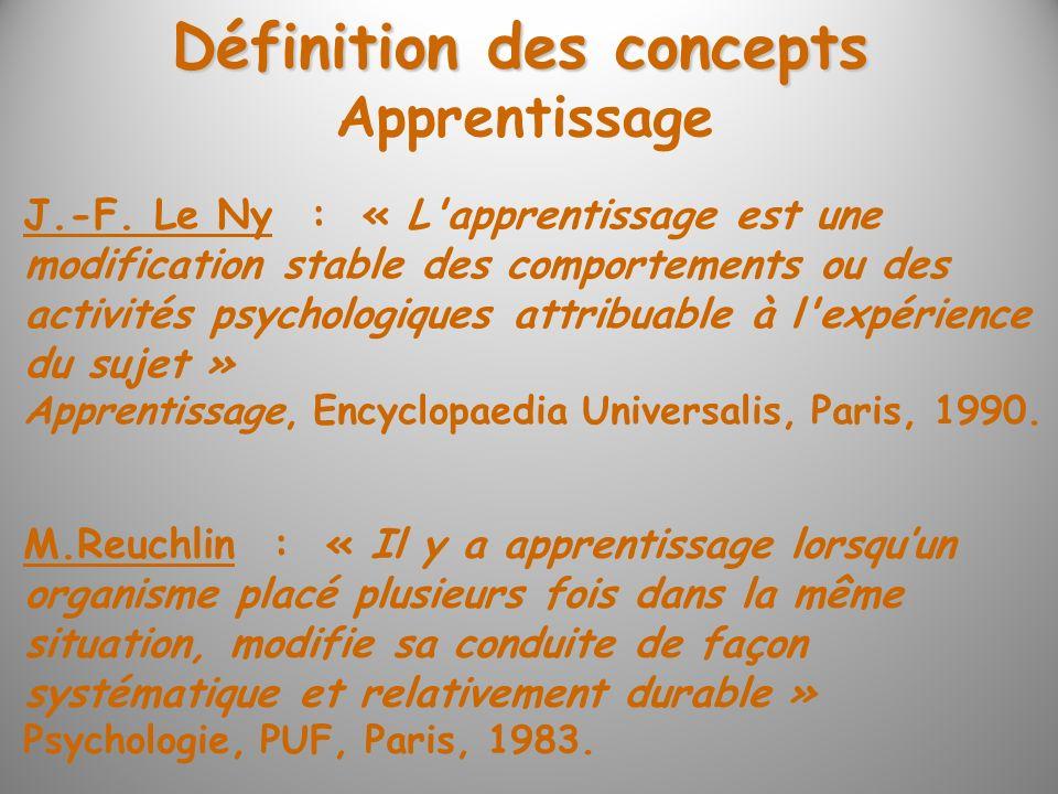 Définition des concepts J.-F. Le Ny : « L'apprentissage est une modification stable des comportements ou des activités psychologiques attribuable à l'