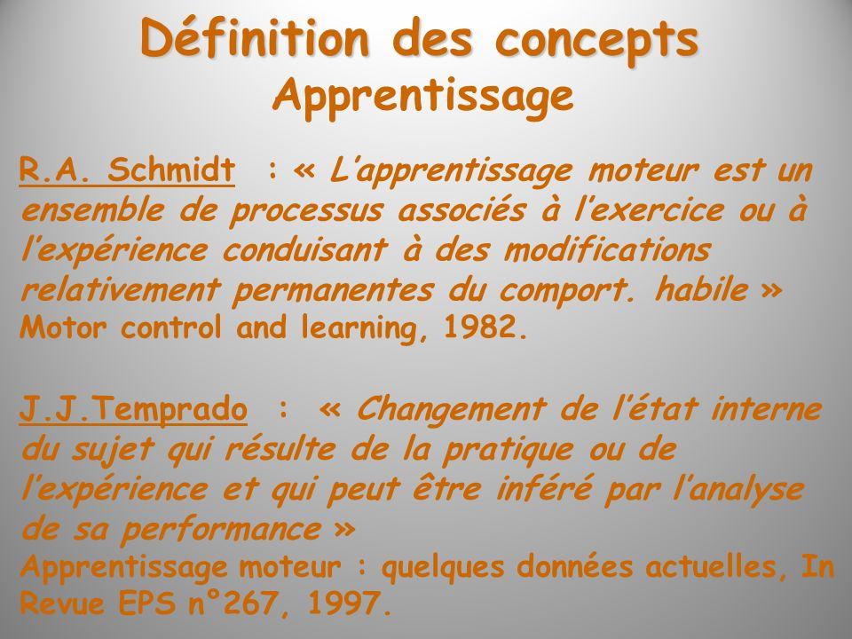 Définition des concepts R.A. Schmidt : « Lapprentissage moteur est un ensemble de processus associés à lexercice ou à lexpérience conduisant à des mod