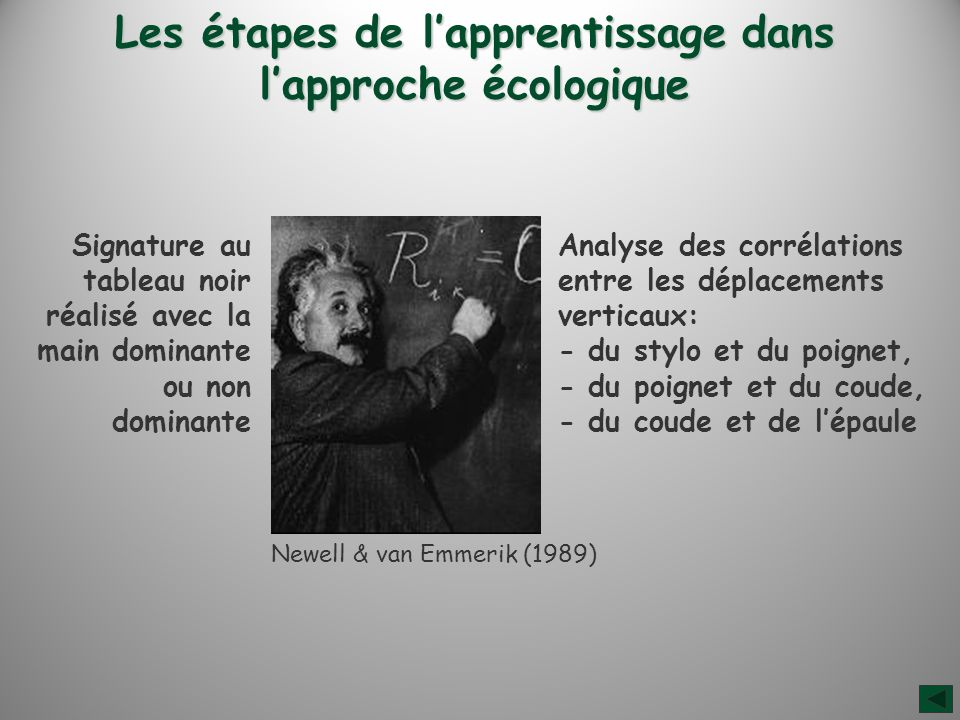 Les étapes de lapprentissage dans lapproche écologique Signature au tableau noir réalisé avec la main dominante ou non dominante Newell & van Emmerik