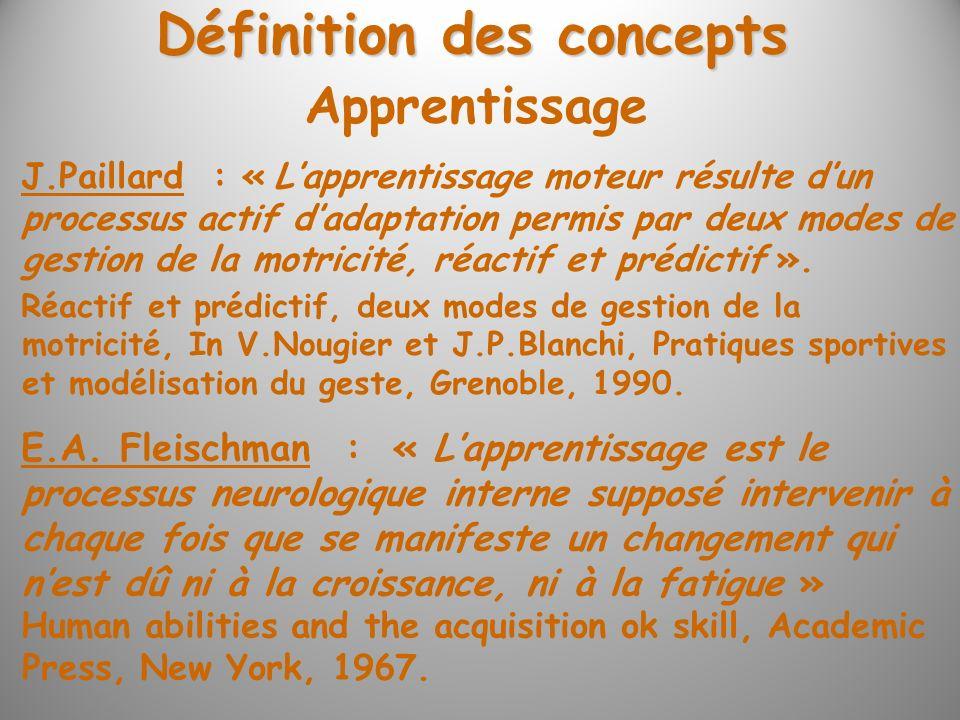 Définition des concepts J.Paillard : « Lapprentissage moteur résulte dun processus actif dadaptation permis par deux modes de gestion de la motricité,