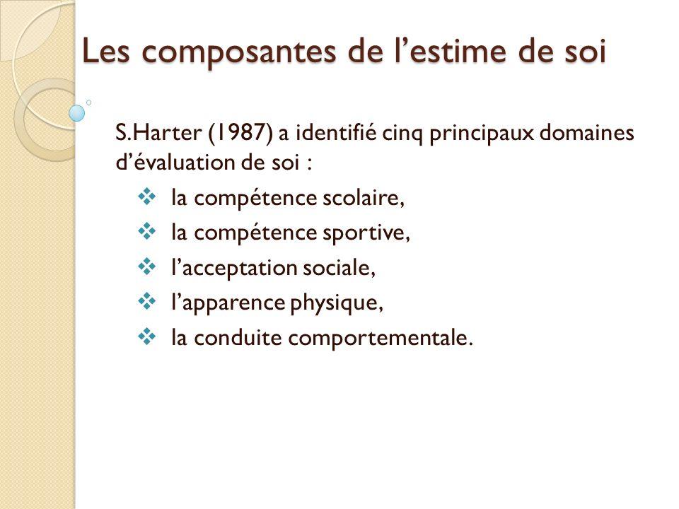 Les composantes de lestime de soi S.Harter (1987) a identifié cinq principaux domaines dévaluation de soi : la compétence scolaire, la compétence sportive, lacceptation sociale, lapparence physique, la conduite comportementale.
