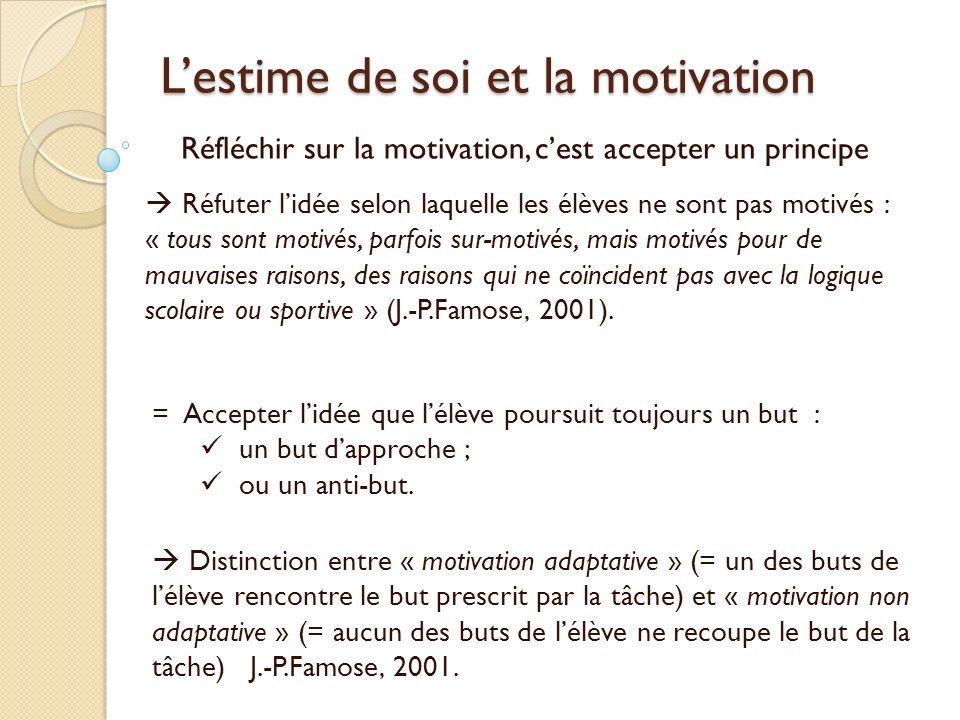 Lestime de soi et la motivation Réfléchir sur la motivation, cest accepter un principe Réfuter lidée selon laquelle les élèves ne sont pas motivés : «