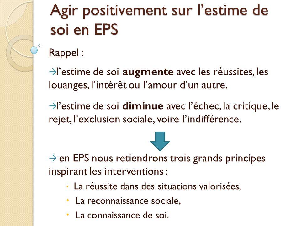 Agir positivement sur lestime de soi en EPS Rappel : lestime de soi augmente avec les réussites, les louanges, lintérêt ou lamour dun autre.