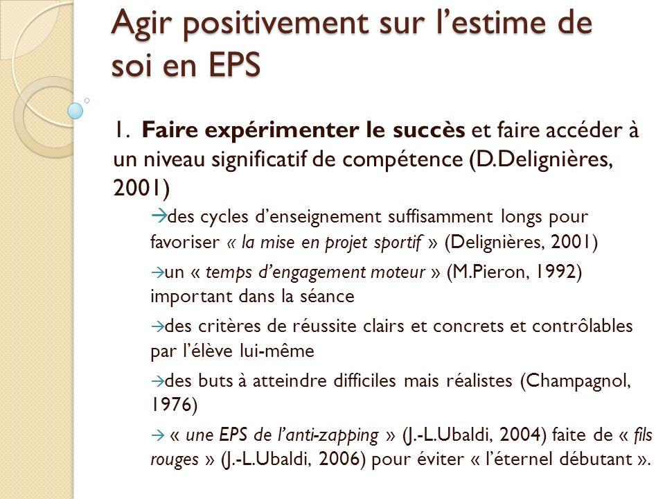 Agir positivement sur lestime de soi en EPS 1. Faire expérimenter le succès et faire accéder à un niveau significatif de compétence (D.Delignières, 20