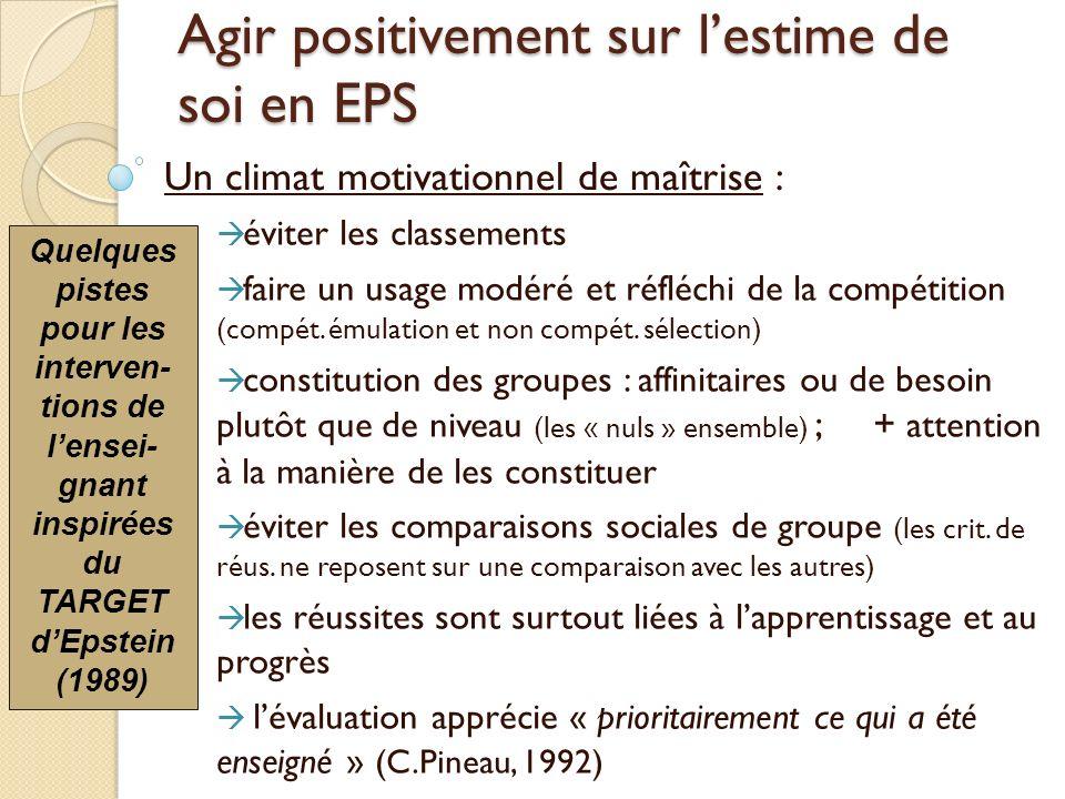 Agir positivement sur lestime de soi en EPS Un climat motivationnel de maîtrise : éviter les classements faire un usage modéré et réfléchi de la compé