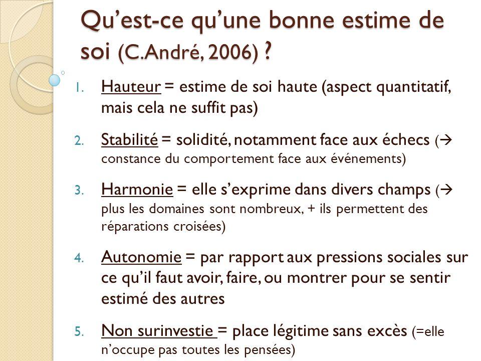 Quest-ce quune bonne estime de soi (C.André, 2006) ? 1. Hauteur = estime de soi haute (aspect quantitatif, mais cela ne suffit pas) 2. Stabilité = sol