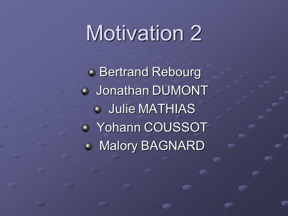 Motivation 2 Bertrand Rebourg Bertrand Rebourg Jonathan DUMONT Jonathan DUMONT Julie MATHIAS Julie MATHIAS Yohann COUSSOT Yohann COUSSOT Malory BAGNAR