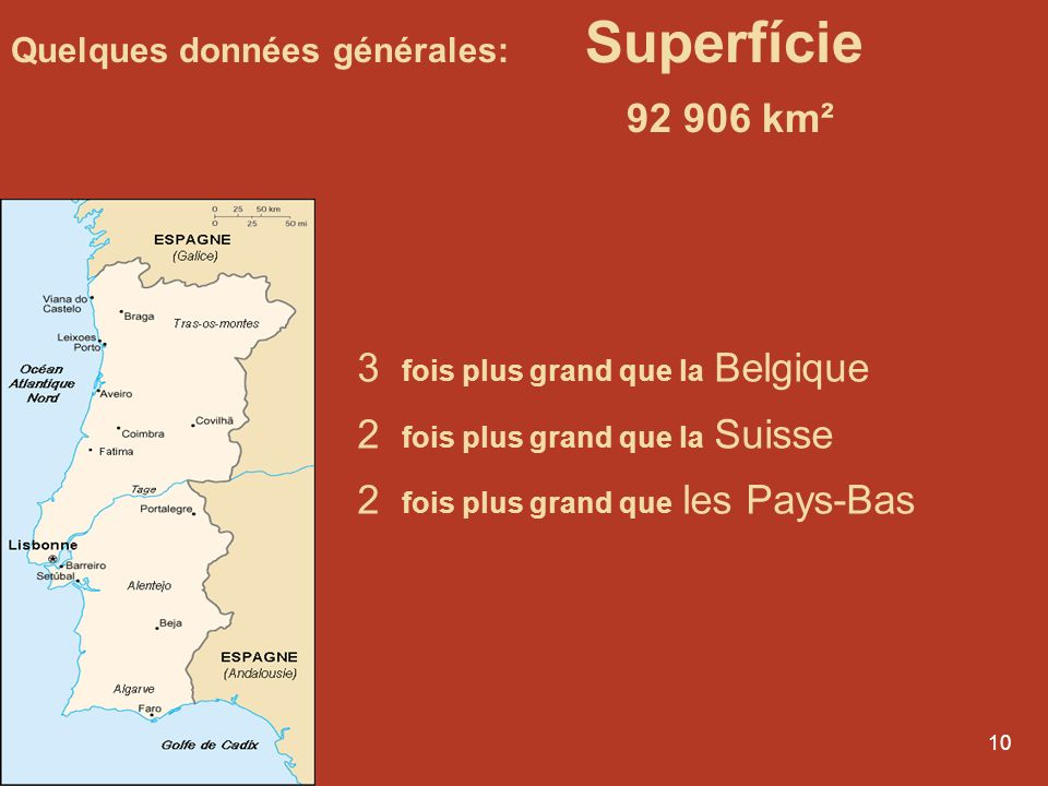 9 Quelques données générales: Superfície 92 906 km² 108 fois plus petit que le Canada 17 fois plus petit que le Québec 103 fois plus petit que les EUA