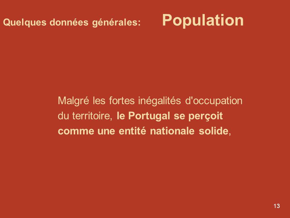 12 Quelques données générales: Population Il y a 10 millions d'habitants au Portugal, qui sont très inégalement répartis sur le territoire: le Trás-os