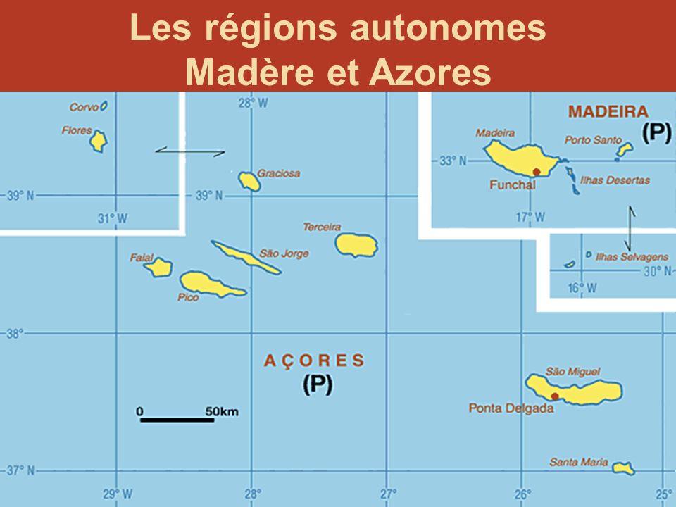 21 Quelques données générales: Les régions Dix-huit régions administratives Deux régions autonomes: Azores et Madère