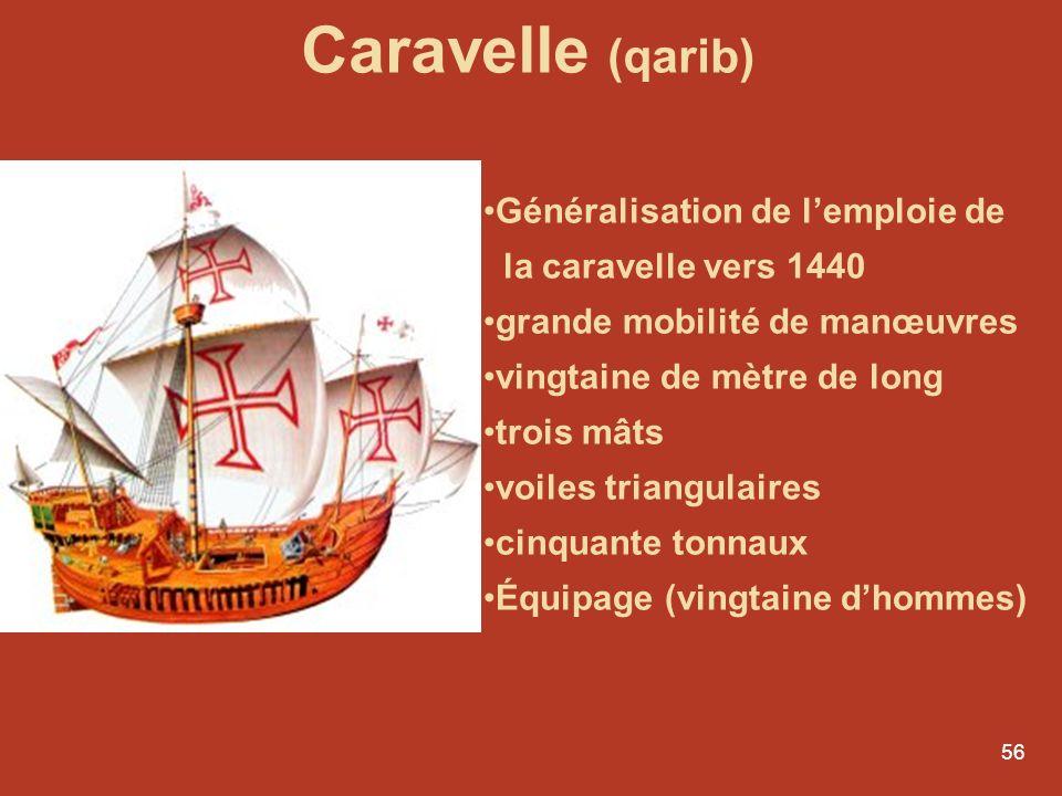 55 Henri le Navigateur Infante Dom Henrique 1394 - 1460 1415 - Conquête de Ceuta Prépare, organise et finance les expéditions de découverte 1416 – Fon