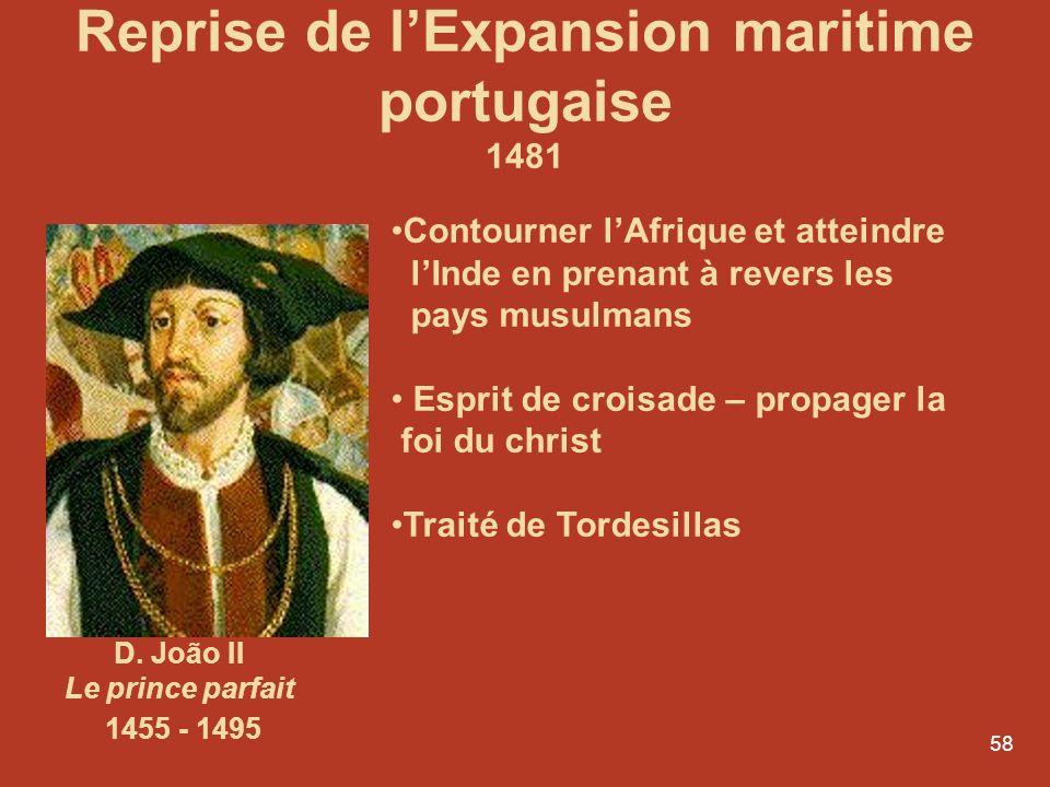57 1415 - Ceuta 1420 – Madère 1427- Açores 1434 Cap Bojador 1436 - Rio do Ouro 1446- le Sénégal et la Guinée-Bissau 1455- Cap Vert 1460 - Golfe de Gui